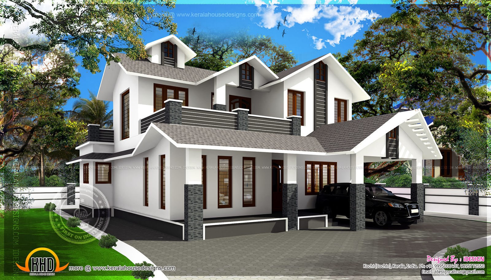1700 Square Feet Sloping Roof Villa Home Kerala Plans