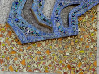 Новгородское. Фенольный завод. Дом техники, музей, библиотека. Мозаичное панно