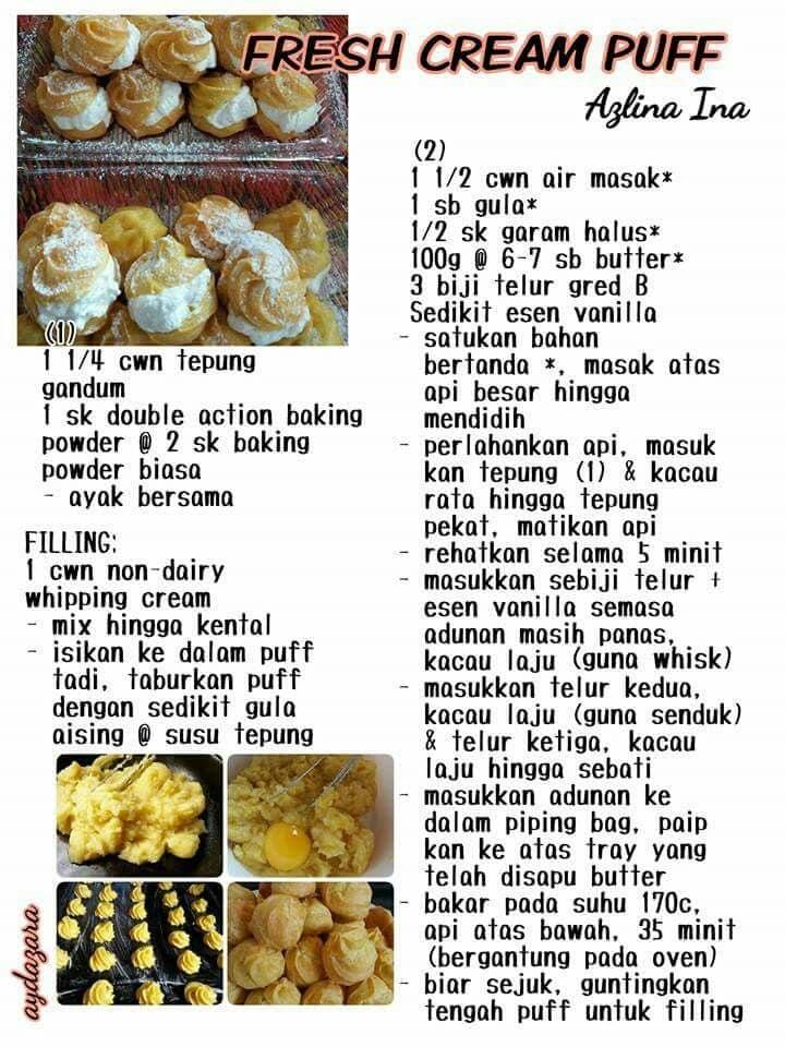 resepi cream puff
