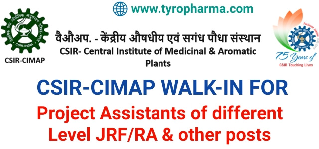 Interview for Project Assistants of different level JRF/RA-Projects at CSIR-CIMAP, Lucknow
