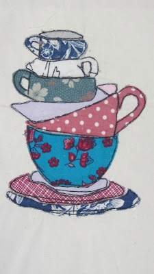 tea cups free motion embroidery or raw edge applique