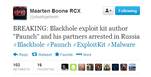 Blackhole exploit kit author Paunch