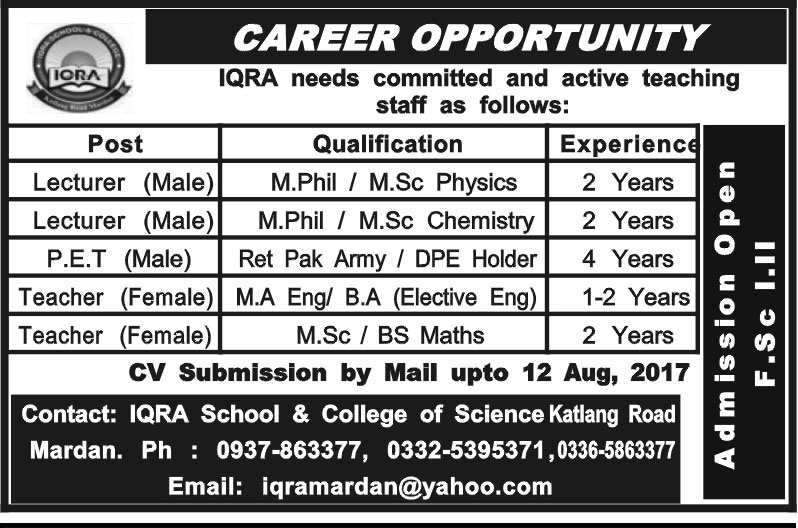 Iqra School & College of Science Jobs aug 2017