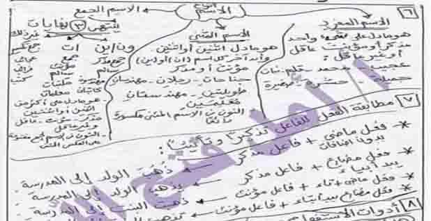 مراجعة ليلة الامتحان لغة عربية للصف الرابع الابتدائى الترم الثانى 2020
