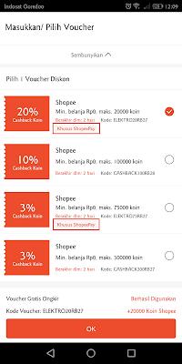 pembayaran melalui shopeepay akan mendapat jumlah cashback koin shopee yang lebih besar