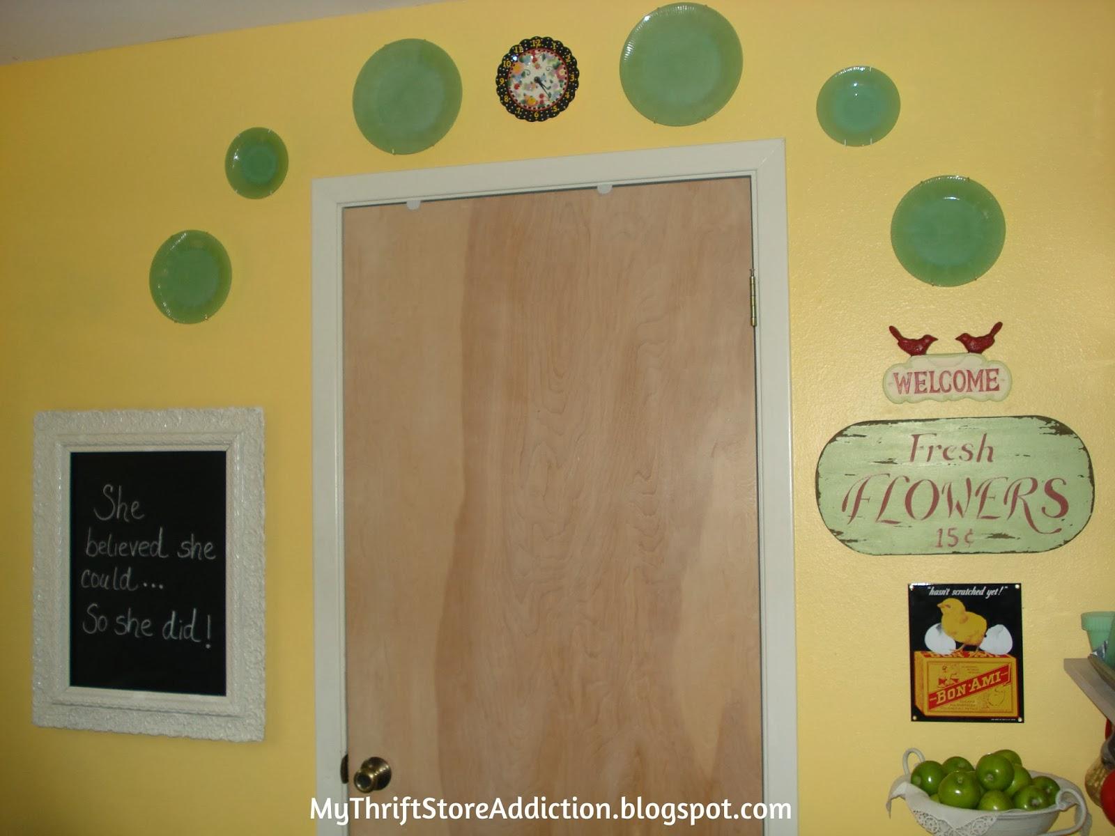 vintage jadeite plate wall collage