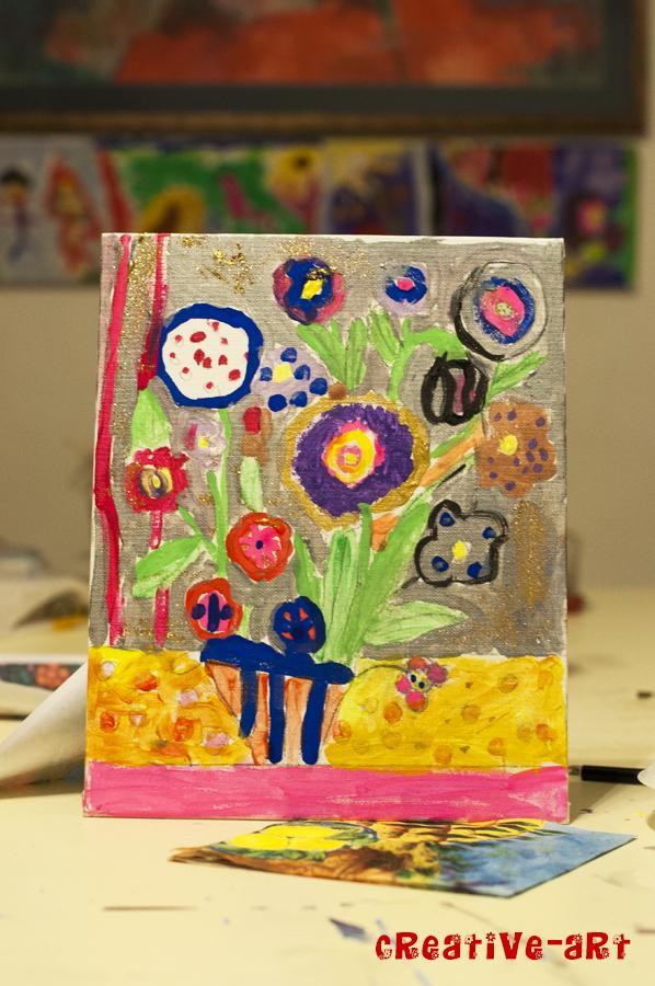 Vaza cu flori pictura copii