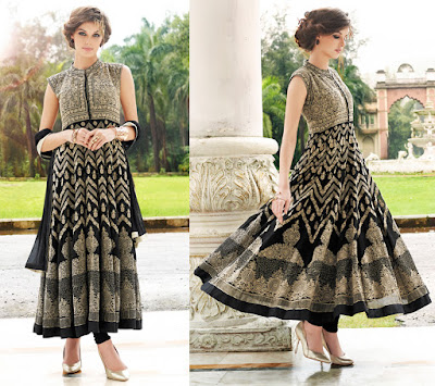 Black Georgette Embroidered Semi-stitched Anarkali With Bottom And Dupatta