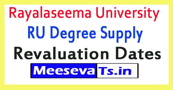 Rayalaseema University RU Degree Supply Revaluation Dates 2018