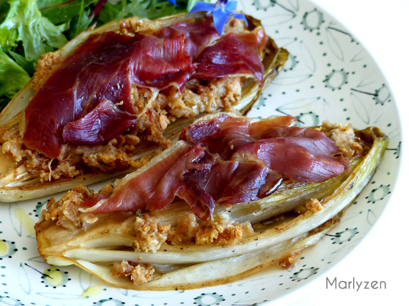Endives caramélisées au jambon serrano