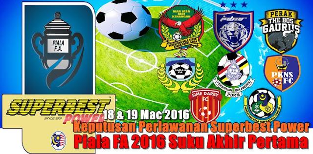 Keputusan Piala FA Malaysia Suku Akhir Pertama 18,19 mac 2016