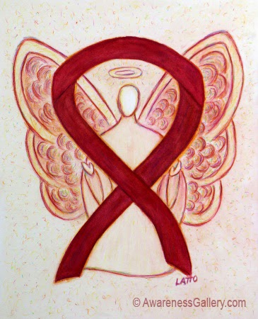 Burgundy Ribbon Awareness Angel Image Picture