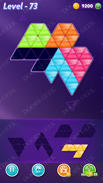 Block! Triangle Puzzle 5 Mania Level 73 Solution, Cheats, Walkthrough for Android, iPhone, iPad and iPod