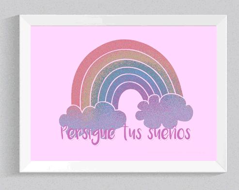 lámina infantil para imprimir con arcoiris