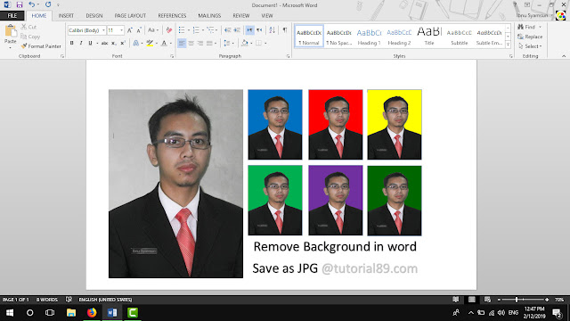 Cara mengganti background pas foto di word dan save ke JPG