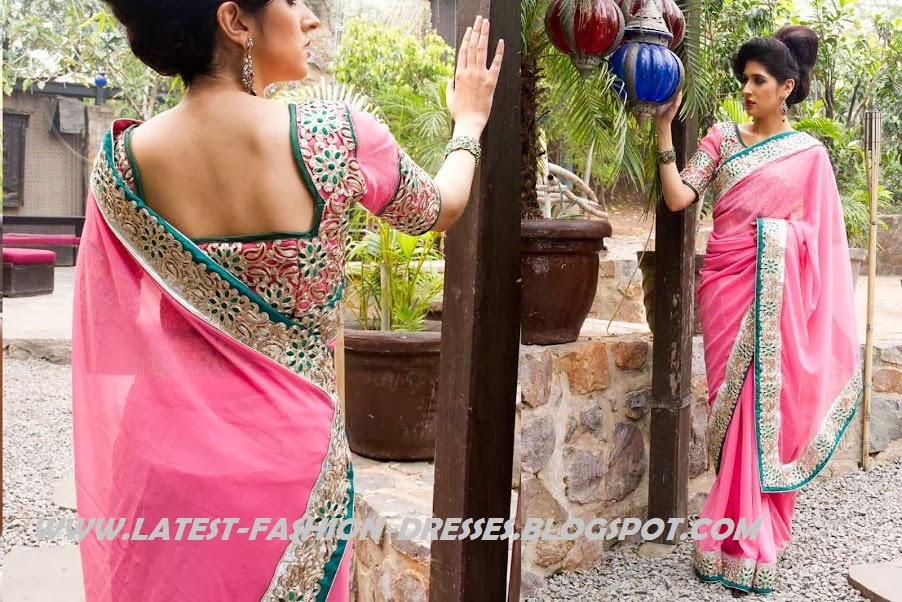CUT WORK BORDER PINK SAREE