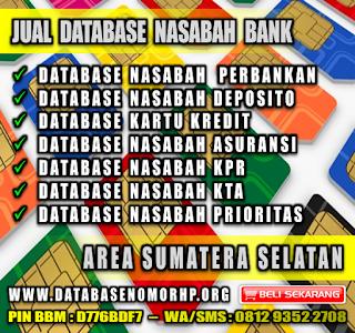 Jual Database Nasabah Bank Wilayah Sumatera Selatan