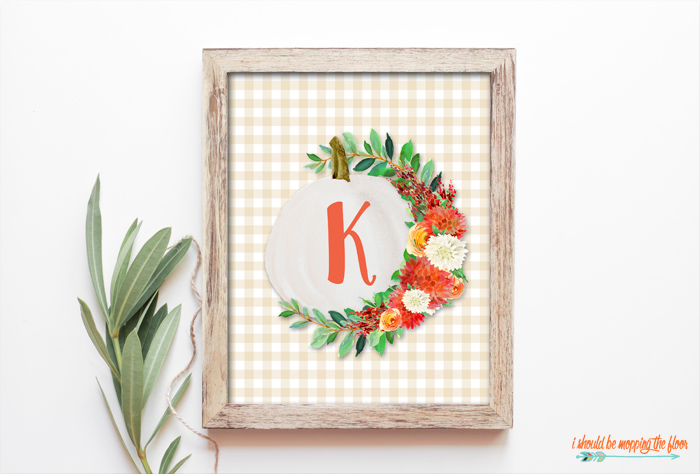 Beautiful Farmhouse Pumpkin Monogram Printable