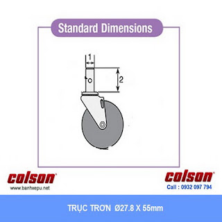 Bánh xe trục trơn Colson có khóa càng nhựa 5 inch | STO-5851-448BRK4 www.banhxeday.xyz
