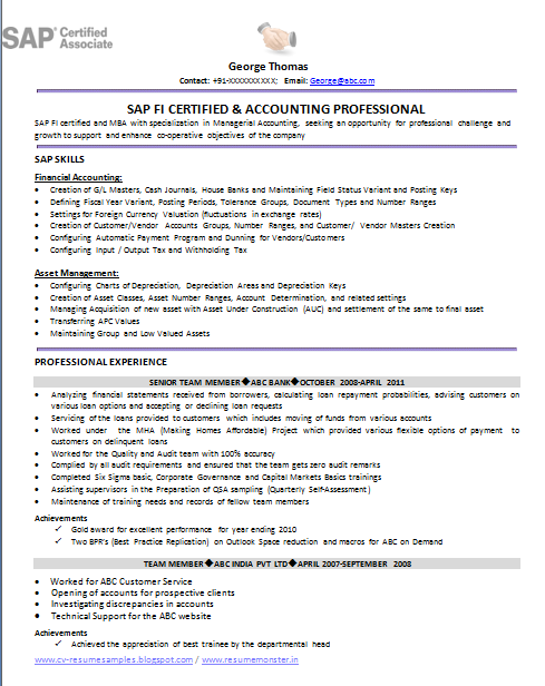 bank management trainee resume sample
