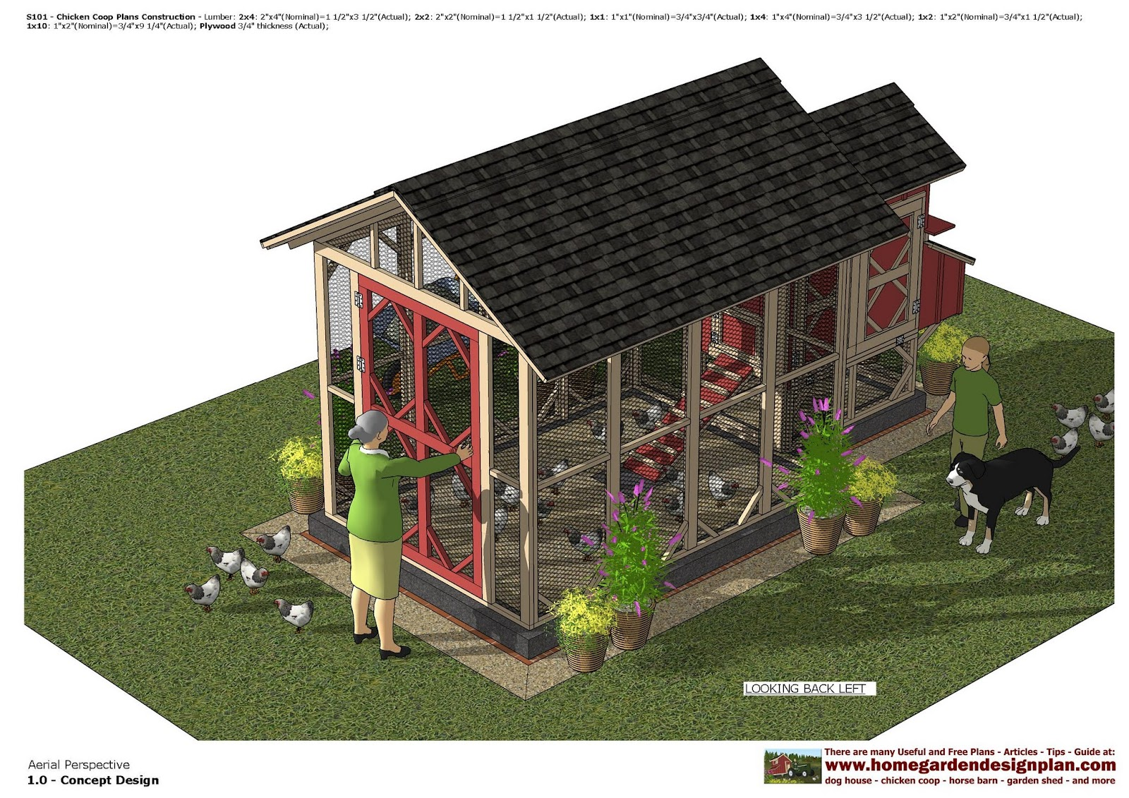 Home garden plans s101 chicken coop plans chicken for Chicken coop size for 6 chickens