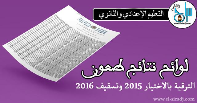 نتائج طعون الترقية بالاختيار لسنة 2015 لأساتذة التعليم الثانوي والإعدادي