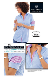 Gingham Trim Chambray Shirt