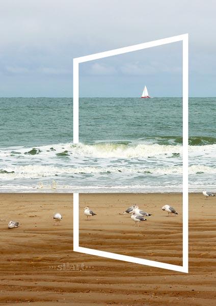 Meerblick, Blick auf das Meer mit Moewen am Strand