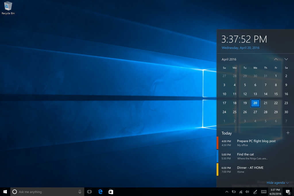 Nuovo Action Center HTNovo Build 14328