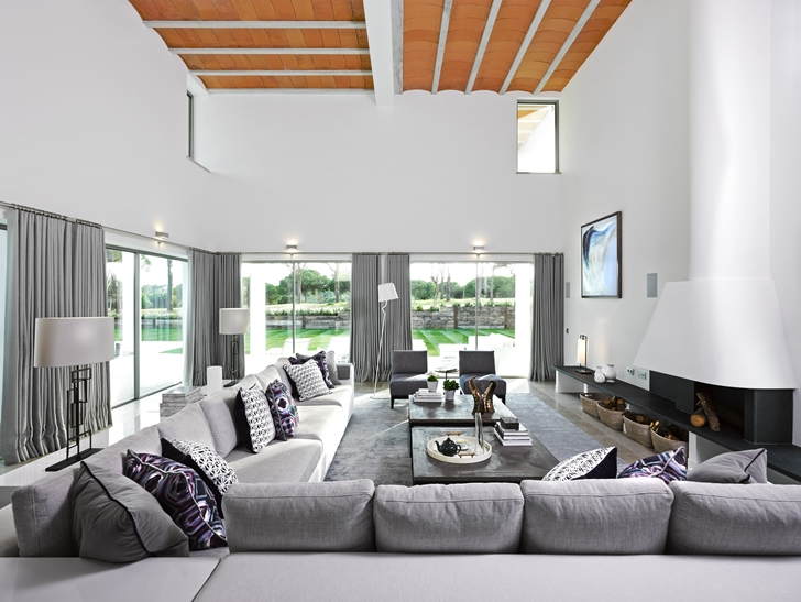 Large living room in Simple modern home in Portugal