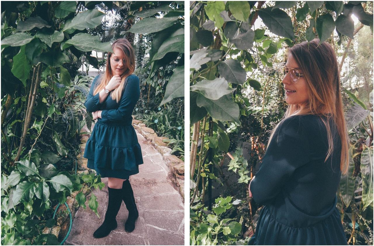5 nagłówek mia gold zielona sukienka butelkowa zieleń z falbankami czarne muszkieterki za kolano deichmann blond fryzury modne 2018 ombre somblre daniel wellington sesja w palmiarni skórzany pasek palmy łódź
