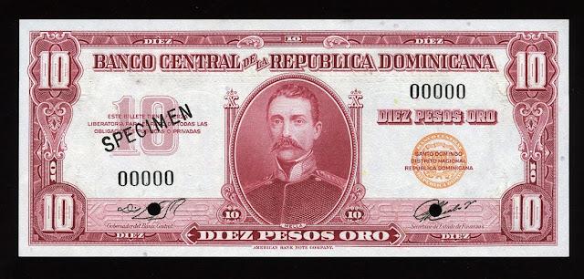 10 Dominican Pesos Oro Banknote