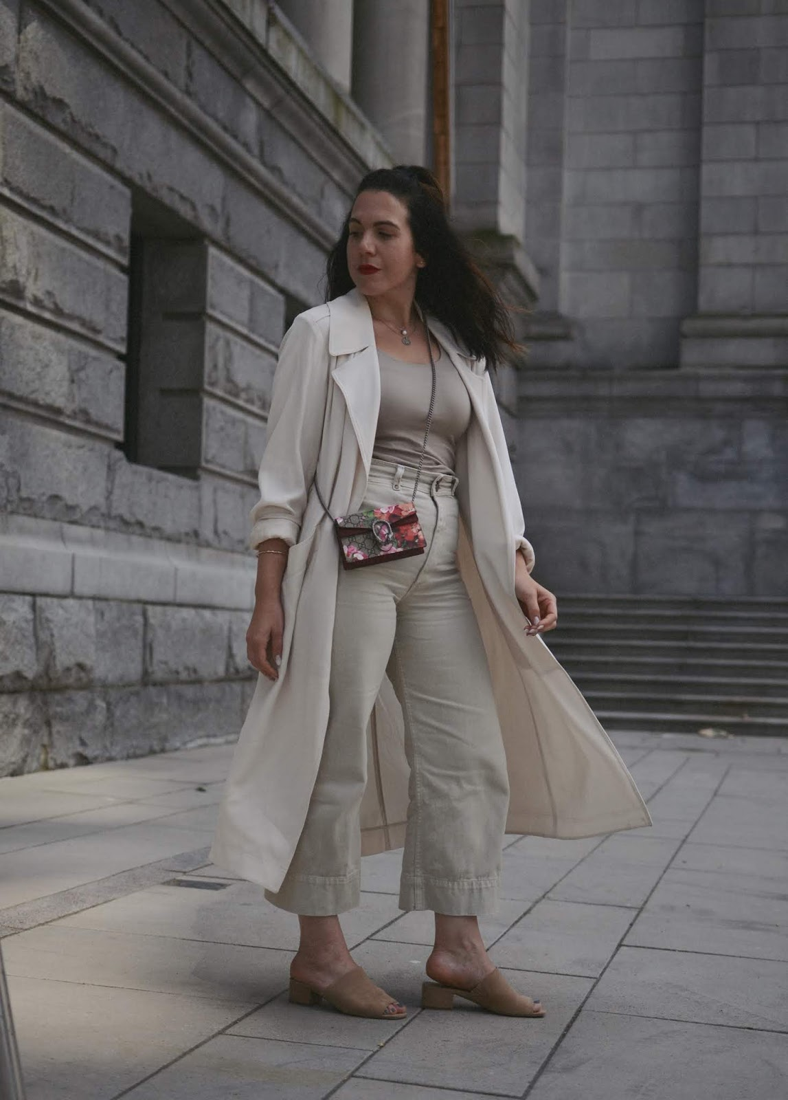All beige outfit idea monochrome aritzia duster jacket thrills denim culottes le chateau suede mules gucci supreme mini bag