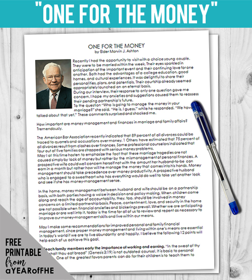 A Year of FHE // THis is a great resource for teens and adults to learn about how to better manage their finances.  This is part of an entire FHE about Financial Responsibility that is a free download! #lds #mormon