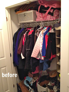 diy mudroom closet before
