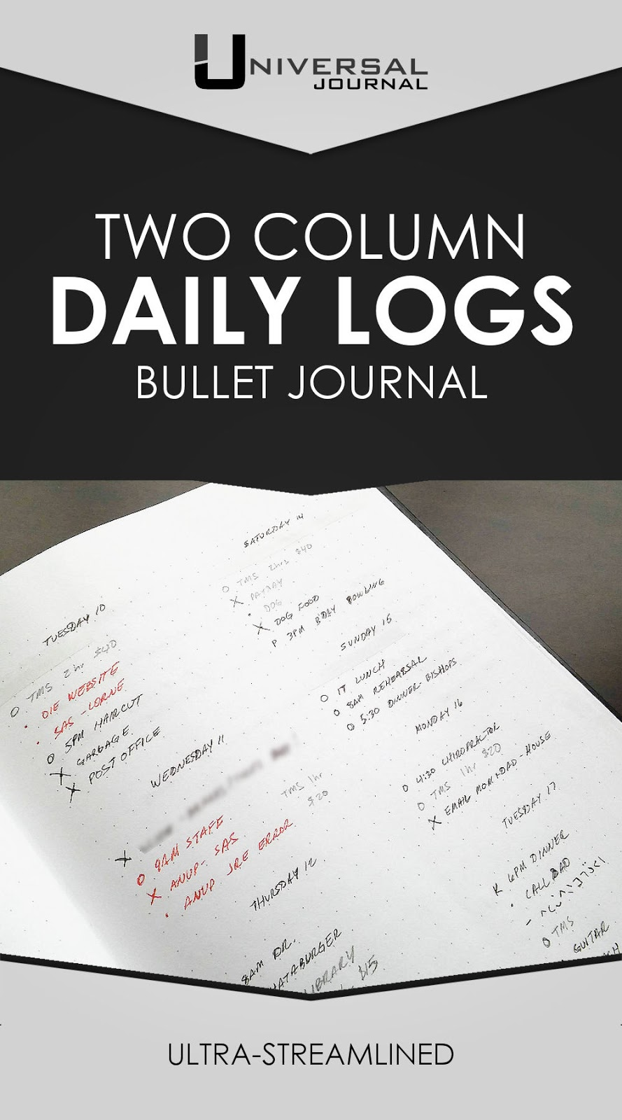 bullet journal two column daily logs
