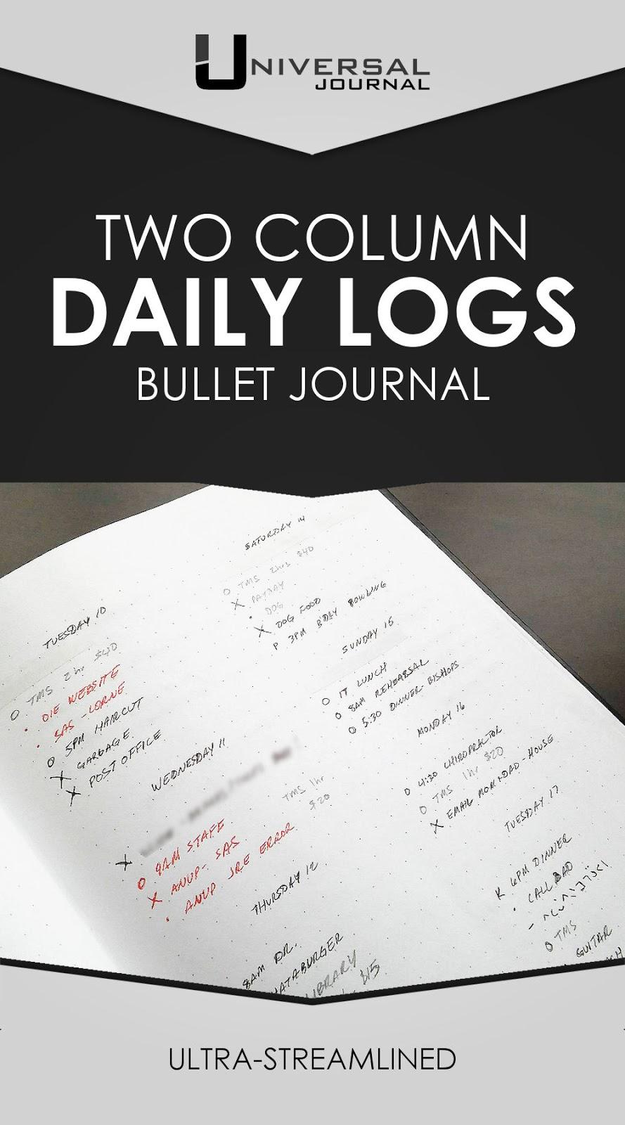 bullet journal two column daily logs