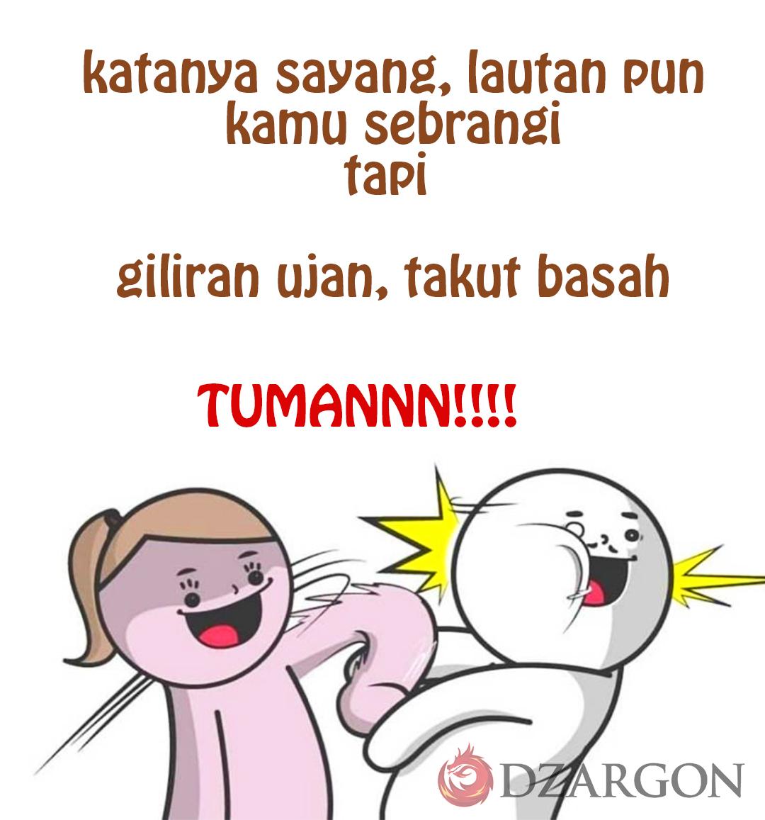 Meme Lucu Tuman cowok takut basah