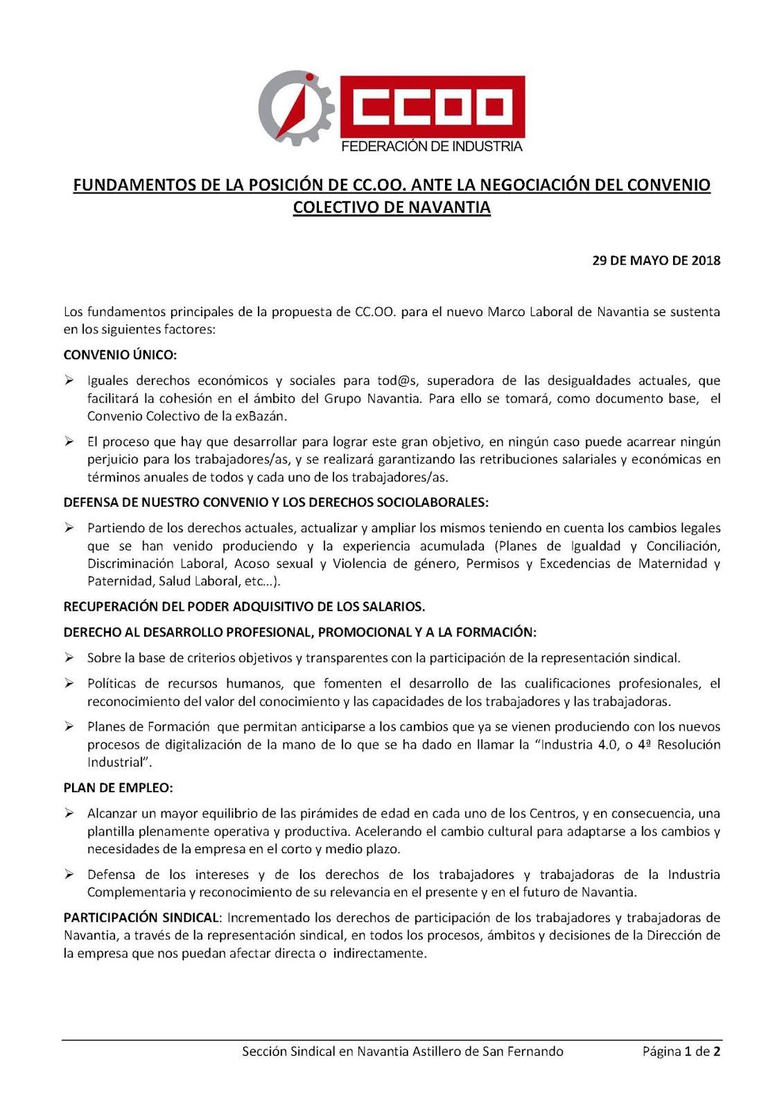 Ccoo navantia san fernando i convenio nico de navantia for Fuera de convenio 2018