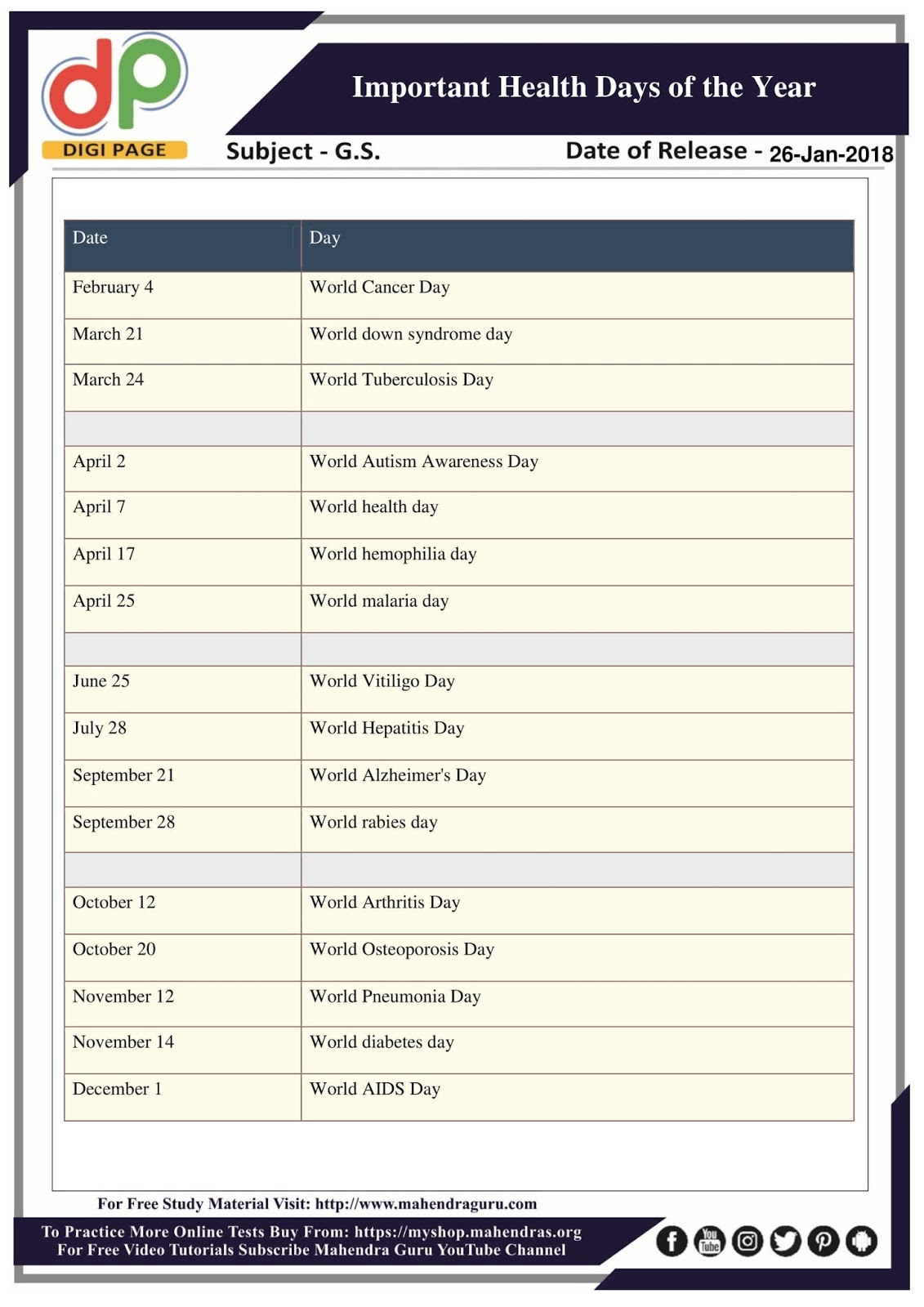 world important days of the year pdf