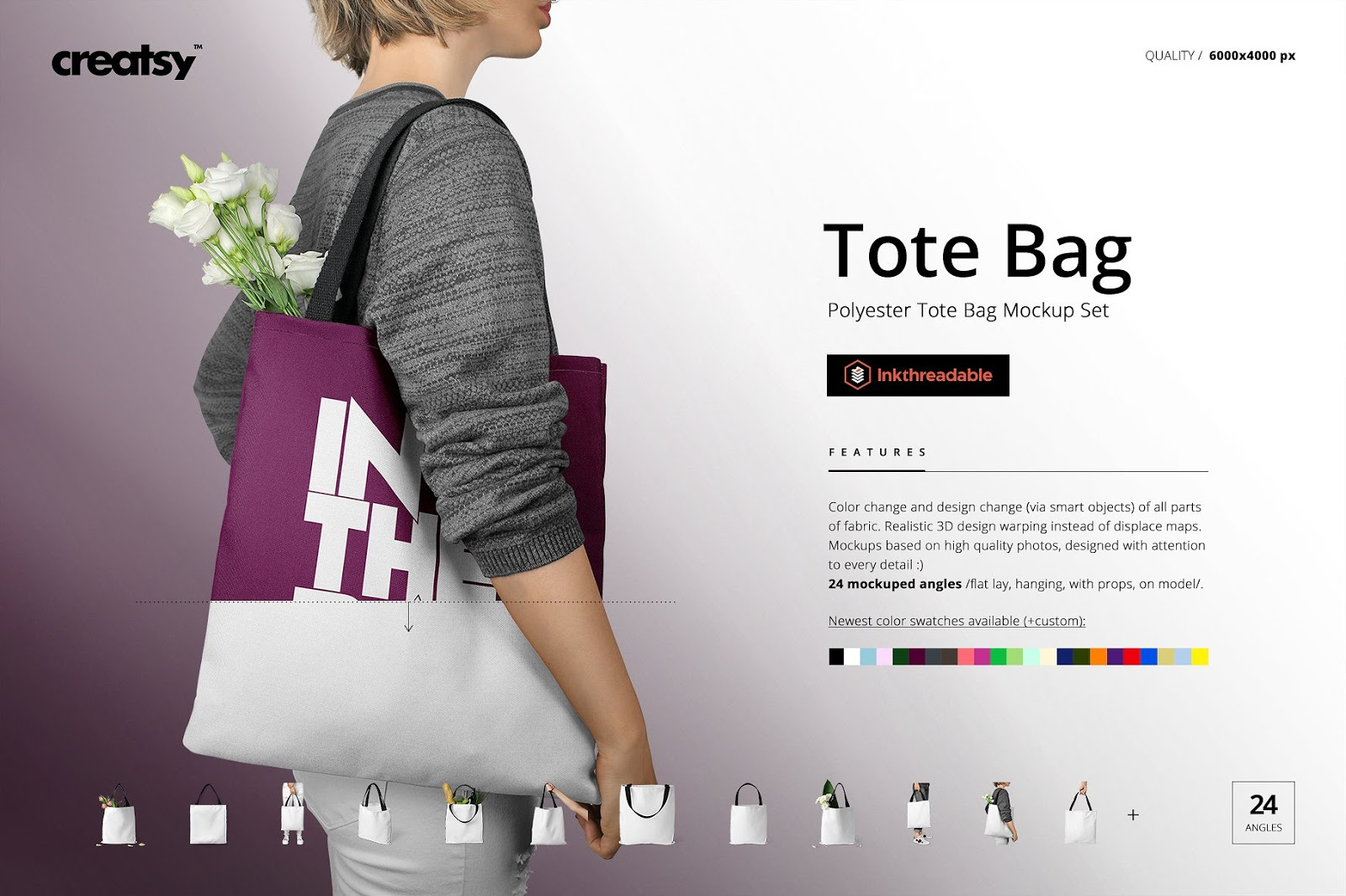 Polyester Tote Bag Mockup Bundle
