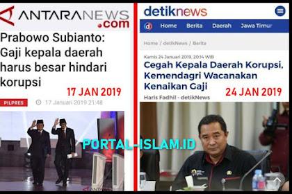 Waktu Debat Ide Prabowo Naikan Gaji Kepala Daerah Untuk Cegah Korupsi DITOLAK, Sekarang Kemendagri Wacanakan Kenaikan Gaji Kepala Daerah Untuk Cegah Korupsi