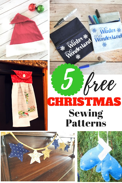 Five great and free printable Christmas sewing patterns.  Great for beginner sewers or experienced.  Perfect for holiday gifting.