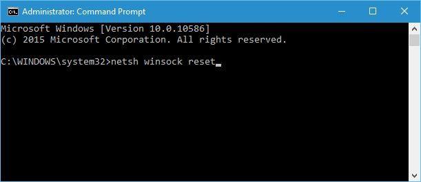 Masukkan kode netsh winsock reset dan tekan enter