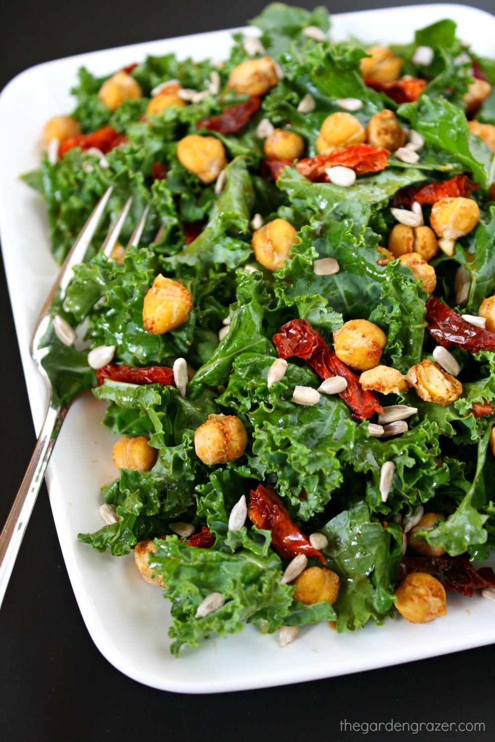 The garden grazer kale salad with sun dried tomatoes for Dry roasted tomatoes