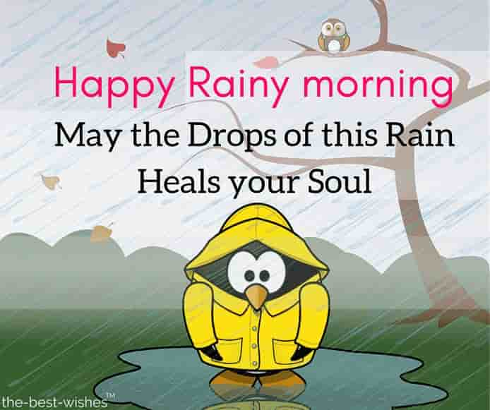 rainy good morning with cartoon