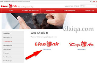 halaman web check-in Lion Air