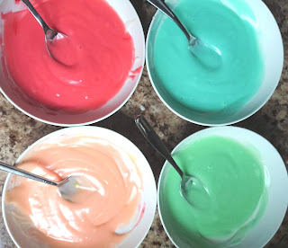 mixing the colors into gluten free batter