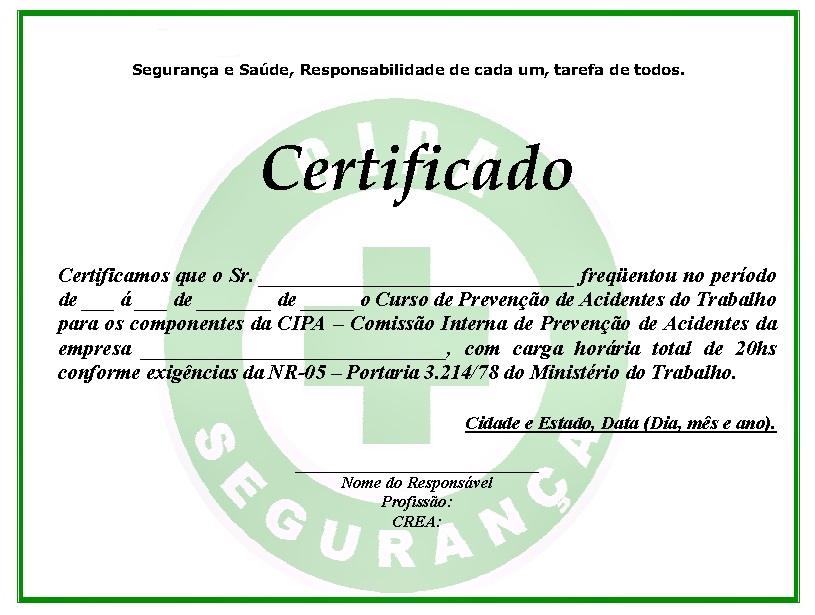 Segurança e Saúde no Trabalho Modelo - Certificado da CIPA