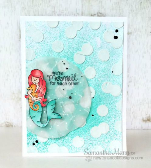 Mermaid for each other Card by Samantha Mann | Mermaid Crossing Stamp Set by Newton's Nook Designs #mermaid #newtonsnook